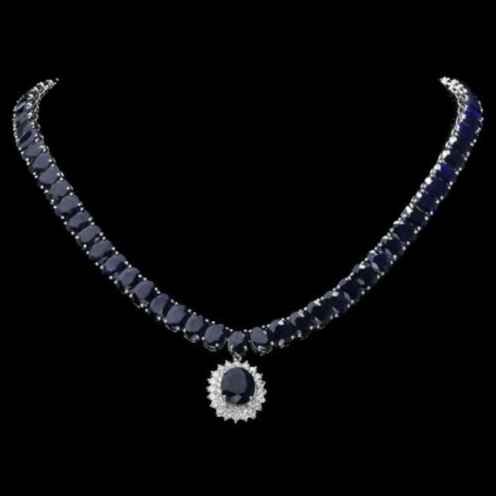 14K White Gold 104.87ct Sapphire and 1.60ct Diamond Necklace