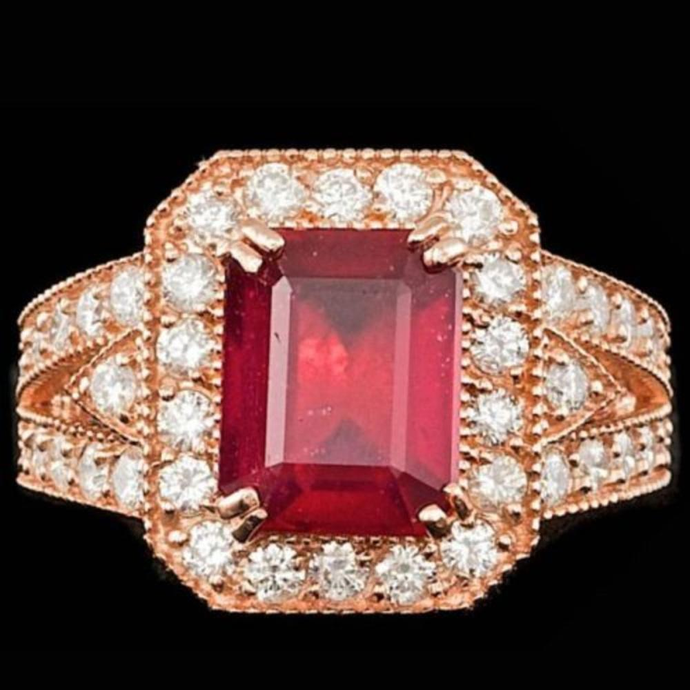 14K Rose Gold 4.17ct Ruby and 1.32ct Diamond Ring