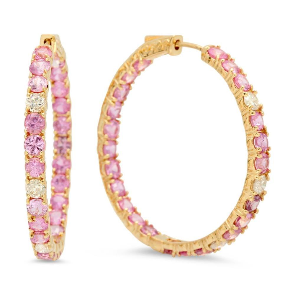 14K Gold 2.89ct Pink Sapphire 0.92cts Diamond Earrings