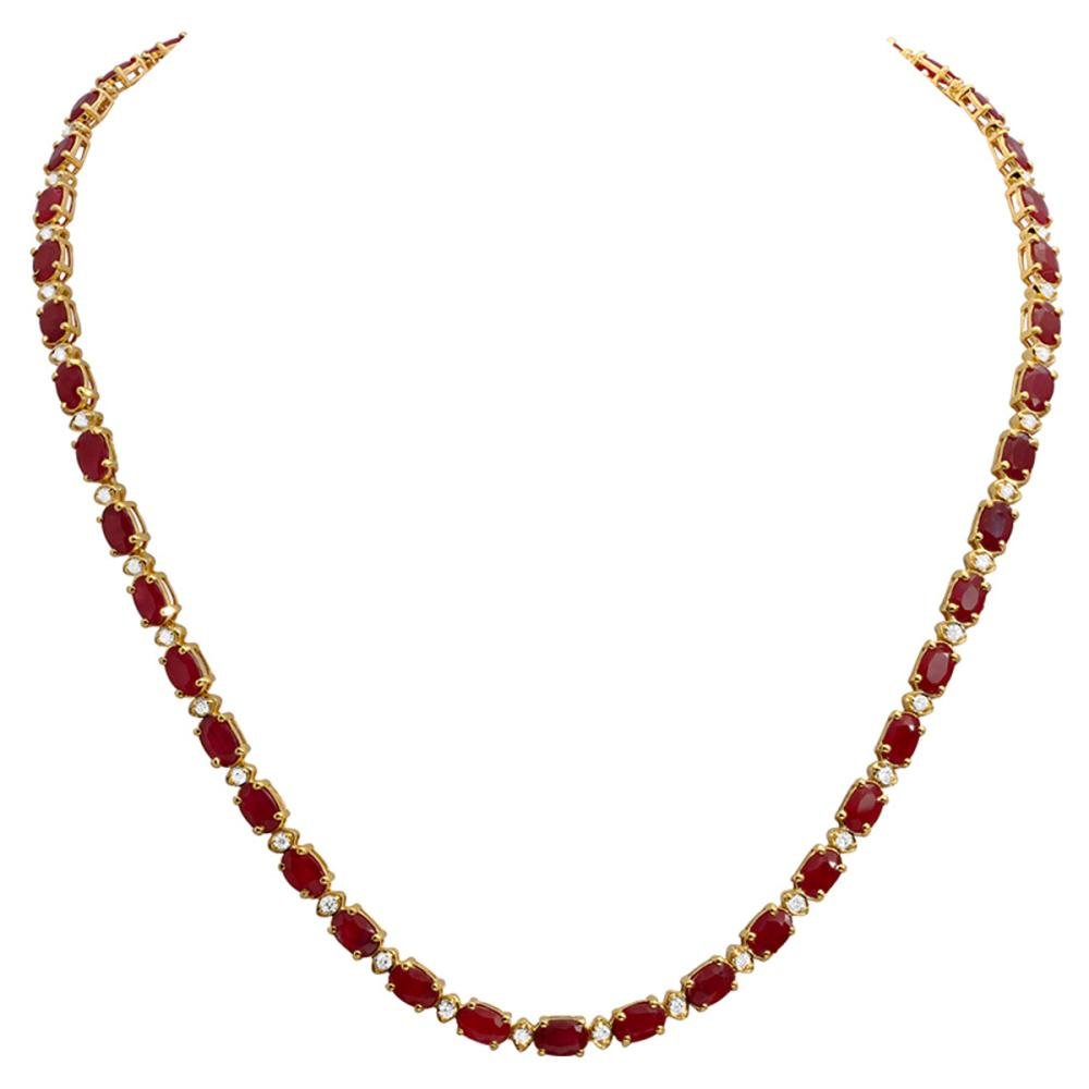 14k Yellow Gold 26.27ct Ruby 1.32ct Diamond Necklace