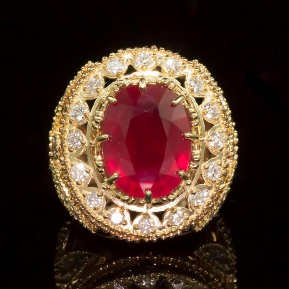 14K Yellow and Rose Gold 13.83ct Ruby and 2.40ct Diamond Ring