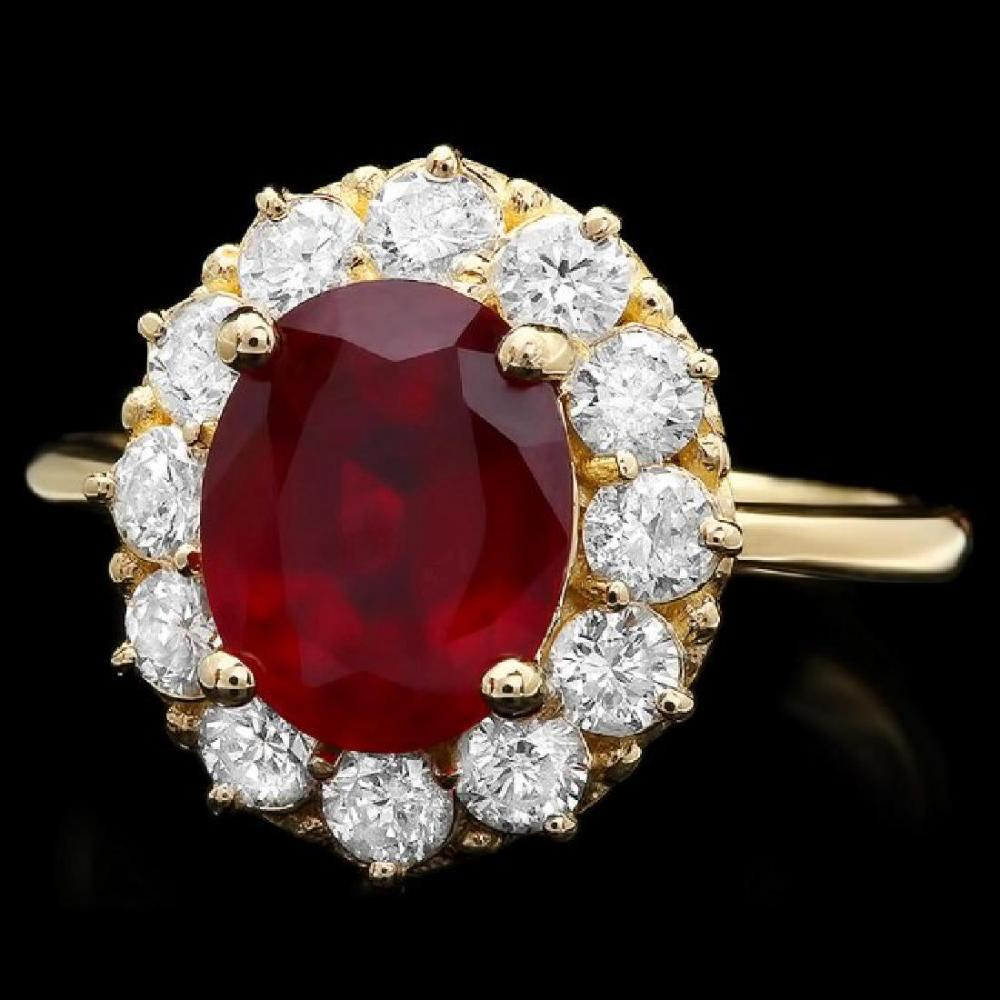 14K Yellow Gold 3.03ct Ruby and 0.96ct Diamond Ring