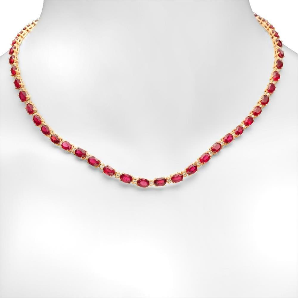 14K Gold 35.20ct Ruby 1.33cts Diamond Necklace