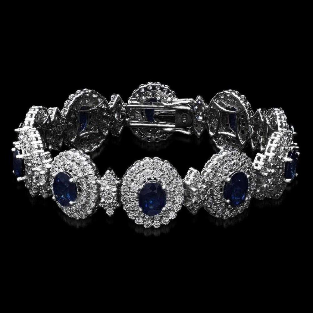 14K White Gold 21.90ct Sapphire and 12.55ct Diamond Bracelet