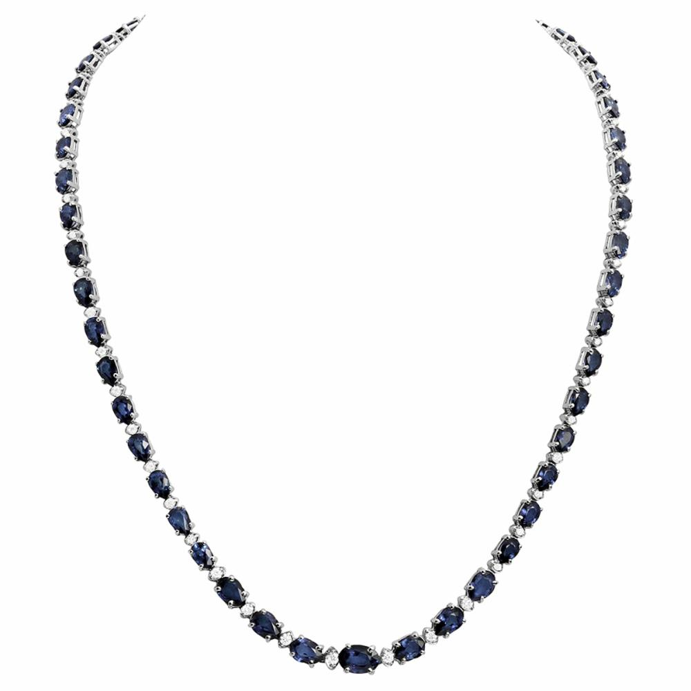 14k White Gold 23.90ct Sapphire 1.09ct Diamond Necklace