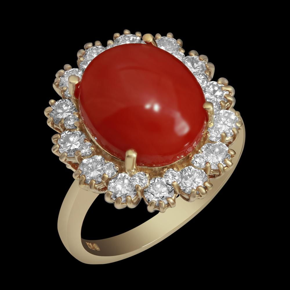 14k Yellow Gold 4.65ct Coral 1.50ct Diamond Ring