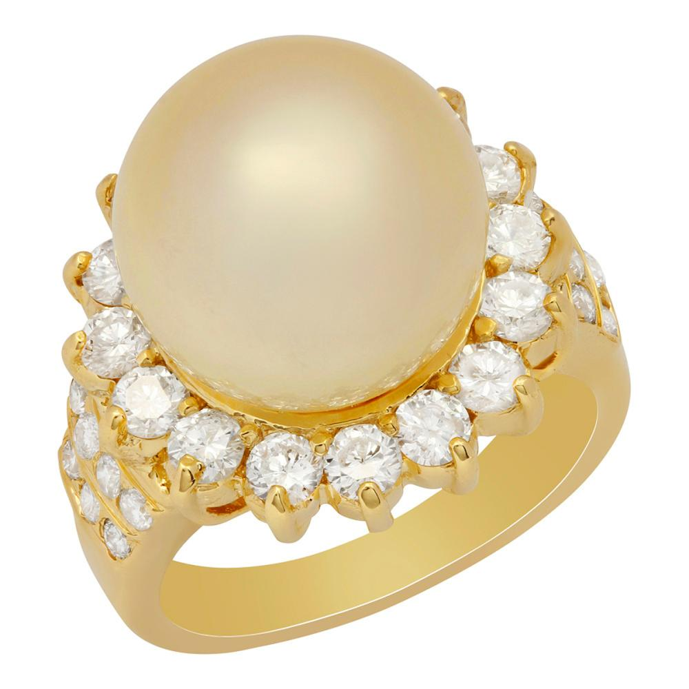 14k Yellow Gold 13mm Pearl 1.73ct Diamond Ring