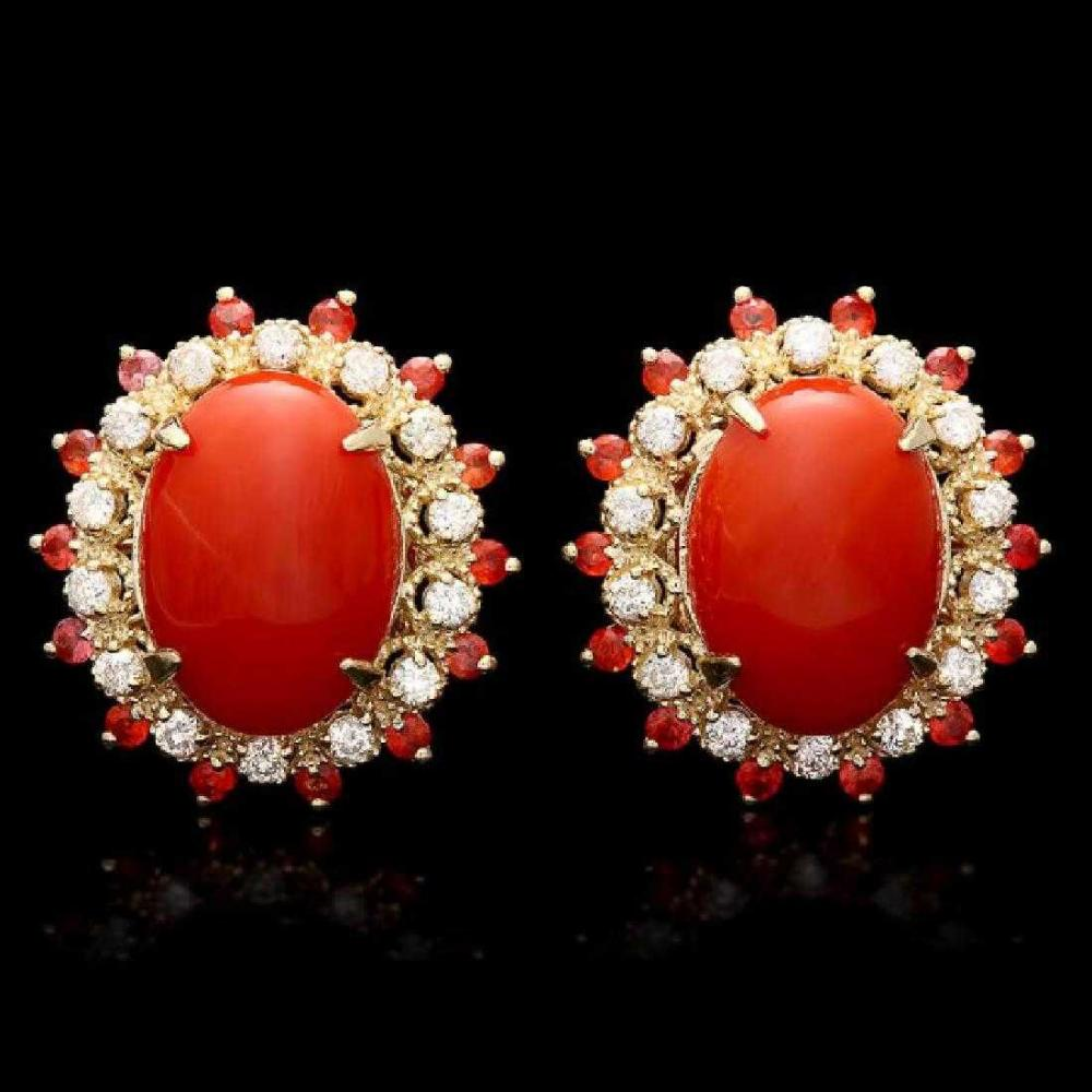 14K Yellow Gold 7.84ct Coral 0.76ct Sapphire and 0.78ct Diamond Earrings
