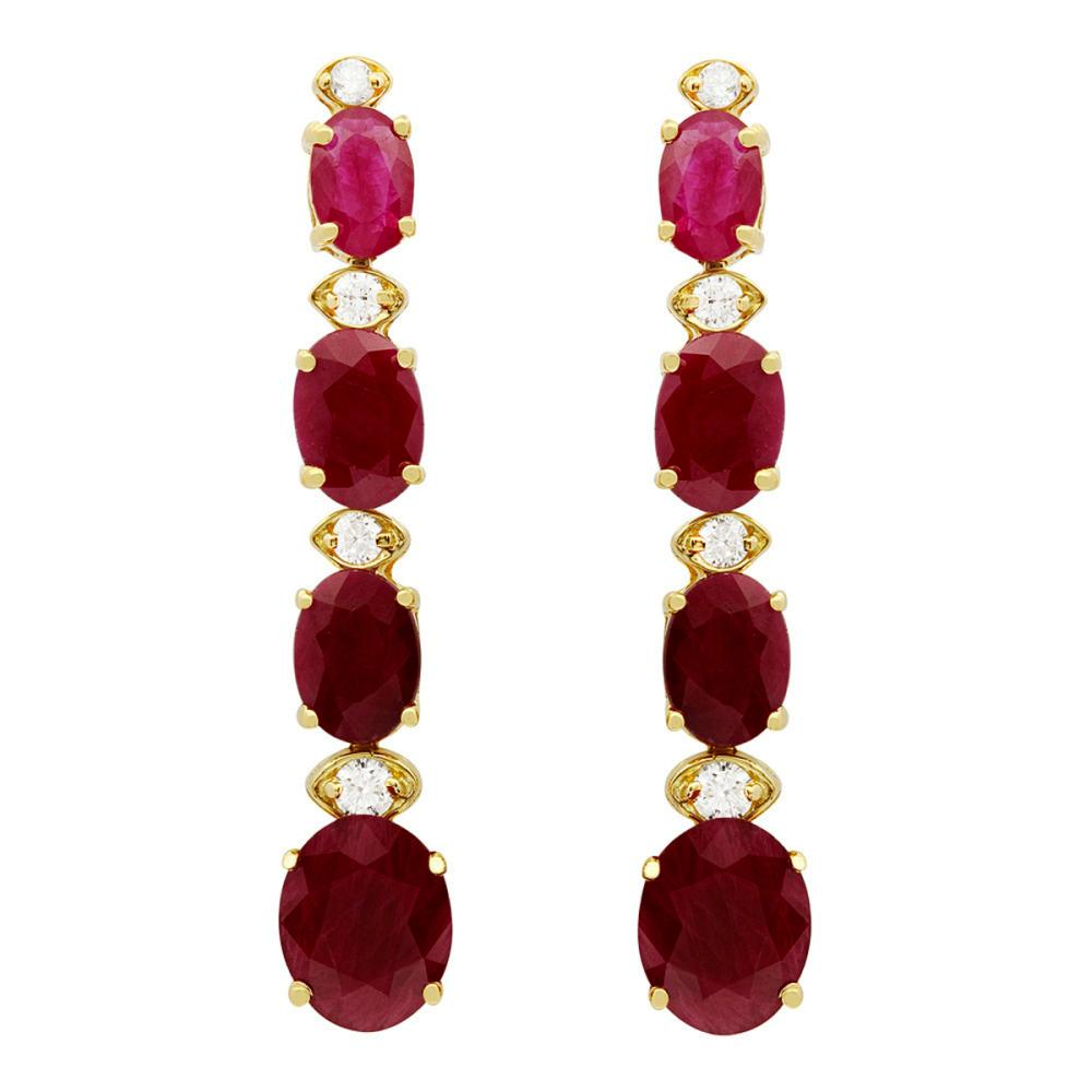 14k Yellow Gold 8.78ct Ruby 0.32ct Diamond Earrings