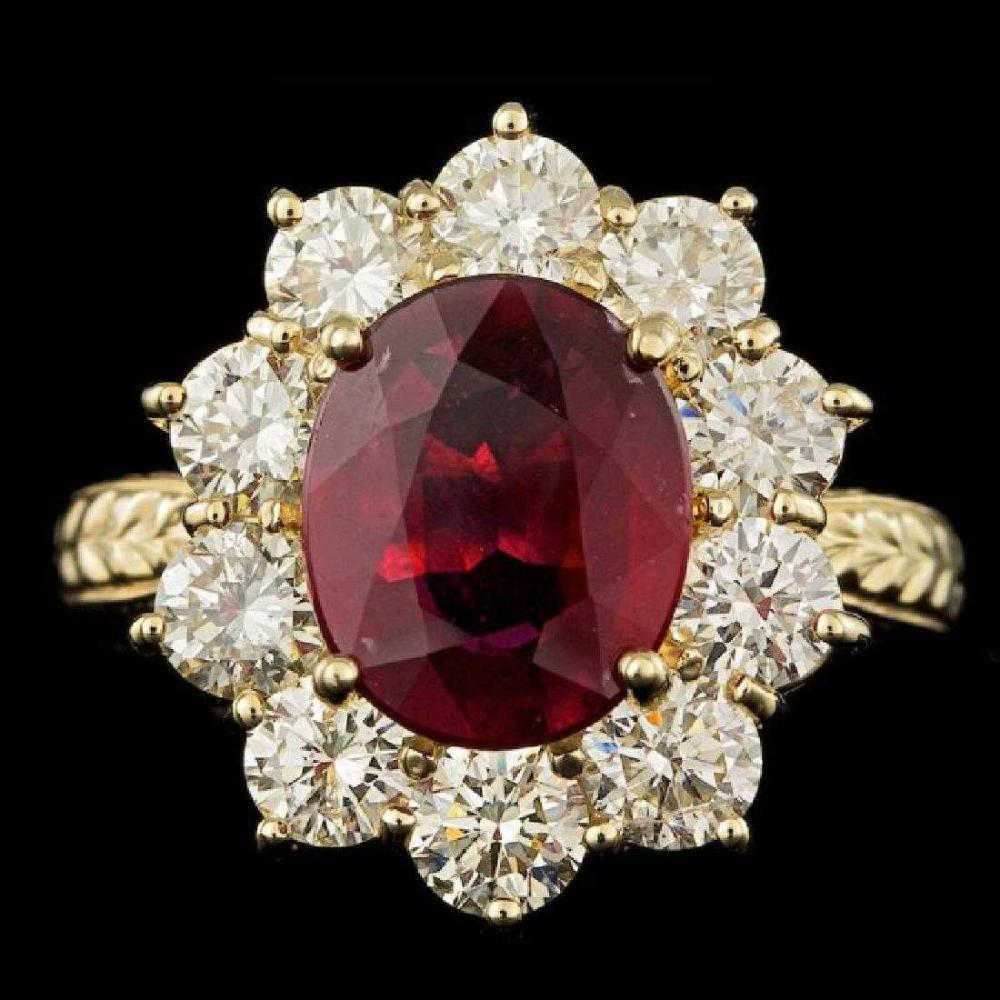14K Yellow Gold 2.69ct Ruby and 2.08ct Diamond Ring