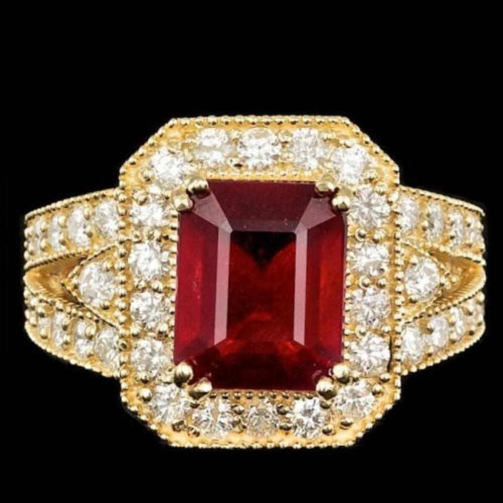14K Yellow Gold 5.13ct Ruby and 1.47ct Diamond Ring