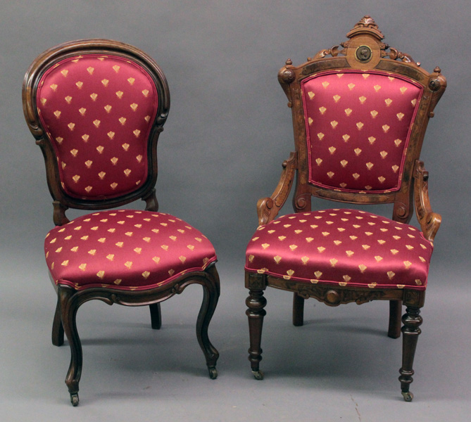 Furniture 2 victorian walnut parlor side chairs in matchi for Furniture 4 a lot less