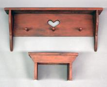 """Furniture: RC –(2) small pieces reproduction wooden furniture, both in  distressed red paint: a hanging shelf with three hat pegs and heart cut out  @back, 12 ¾""""T X 30""""W X 6""""D and a small footstool with 'V' cut base ends,  9""""W X 14""""L X 8""""T (BOTH VG)"""