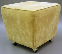 "Furniture: RC – contemporary upholstered ottoman, tan suede type in a  tapered block form on four rollers, 19'T X 20 ½""Square (VG) PICK UP  ONLY"