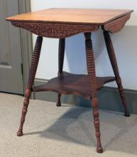 """Furniture: RC – antique oak square top splayed leg lamp table with  pressed design aprons all around and with stretcher shelf base,24"""" square  X 29 ½""""T (VG)  PICK UPONLY"""