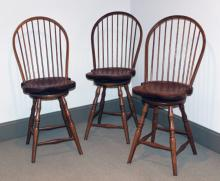 "Furniture:RC – set of (3) contemporary bowed spindle back high swivel  stools, solid, heavily made,  25 ½""T @seats /45 ¼""T @backs (ALL VG)   PICK UP ONLY"