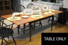 """Furniture: RC – see also #276 & 280 chairs – a marked for David Smith  Co. tiger maple bread board type top table with two end extension boards  on a four tapered leg Shaker style base, painted distressed black, 36 ¼""""W  X 84 ¼""""L/with boards in 60""""L X 36 ¼""""W – less extension boards (VG) –  comes with a full set of table pads PICK UP ONLY"""