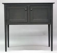 """Furniture: RC – reproduction painted black over red undertone shaker  style server on tapered legs with two paneled doors front, unmarked,  possibly David Smith Co., 42 ¾""""W X 40 34/""""T X 19""""D (VG)  PICK UP  ONLY"""