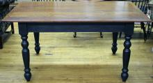"""Furniture:  RC – see also #372 chairs – a quality heavy built cherry bread  board type top rectangular table on four heavy turned legs base, painted  black, likely David Smith Co. but unmarked, 60""""L X 36""""W X 30""""T  (VG)PICK UP ONLY"""