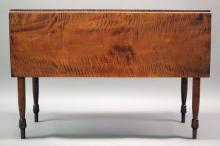 """Furniture: from the Jean Smith Campbell Estate – a fine period Sheraton  four-leg drop leaf table in old if not orig. finish, 17 ½""""W closed X 42 ½"""" W  open X 43 ½""""L X 29 ¼""""T (VG/FINISH VARIATION ON TOP) PICK UP  ONLY"""