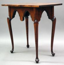 """Furniture: RC- a very good clean Queen Anne style tea size table with  deep cut out aprons all around on fine Queen Anne style legs/feet,  unmarked, possibly David Smith Co., 27 ½""""W X 16""""D X 26 ¼""""T (VG)   PICK UP ONLY"""