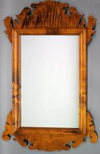 "RC – reproduction tiger maple hanging mirror: very attractive Chippendale style likely by David Smith Co., unmarked, 21""W X 38 ½""T overall (VG)"