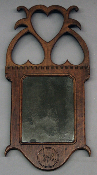 Small solid walnut hanging mirror with open cut out hearts for Small hanging mirror