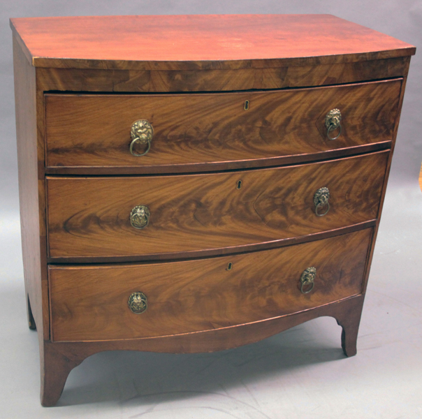 Furniture Period Hepplewhite Small Three Drawer Swell Front