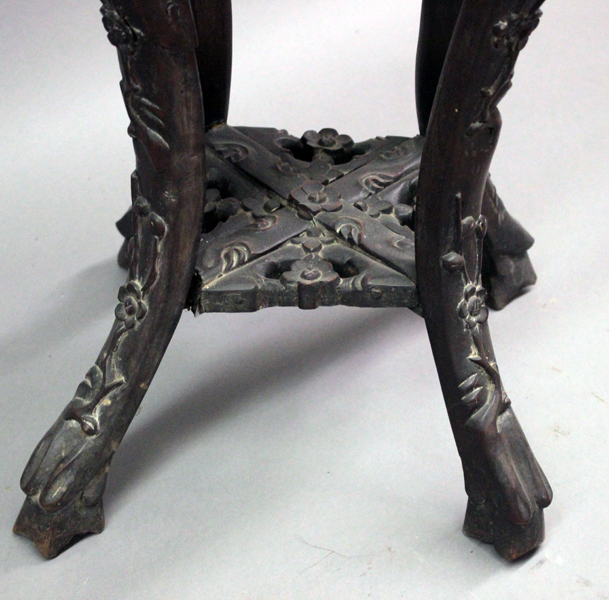 Furniture pc asian carved teakwood three leg round top pe