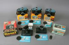 Box Lot of *Diana* Cameras * * Box Lot - (x3) Diana Camera Model 151, Diana-F No. 162, Diana-F Model 162-A Camera 120mm Rangefinders. | Body Serial #: N/A | Lens Serial #: N/A | Condition: Various
