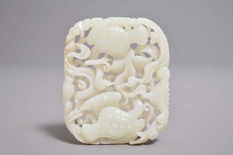 A Chinese Reticulated Jade Plaque With Geese And Lotus Flowers 19