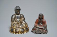 TWO LACQUERED AND GILT WOOD VOTIVE FIGURES, KOREA, 19TH C.