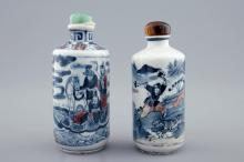 Two Chinese blue, white and underglaze red snuff bottles, 19/20th C.