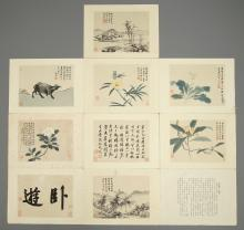 Ten lithographic prints after an album by Shen Zhou (1427-1509), China, 1st half 20th C.