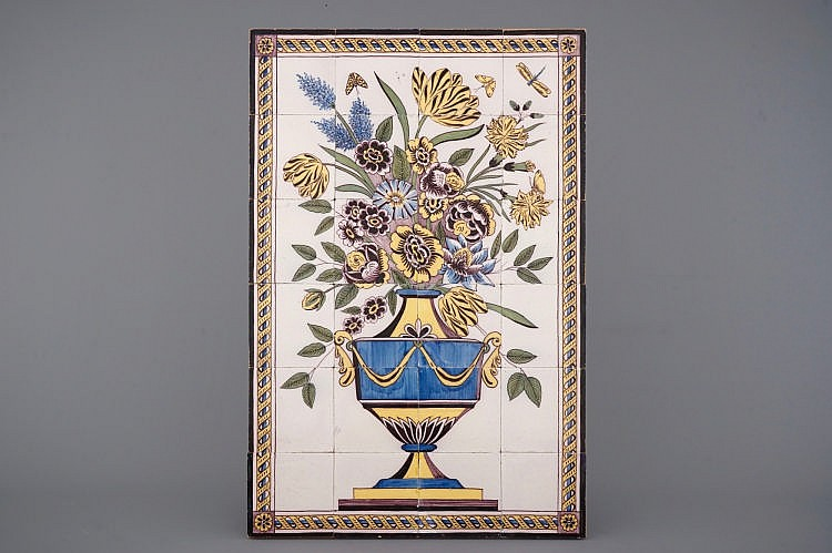 A large dutch delft polychrome tile mural with a flower vase for Delft tile mural