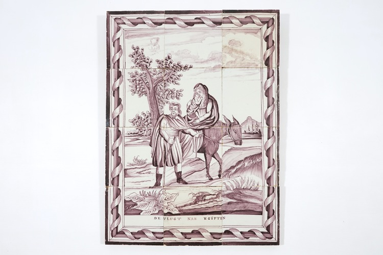 A manganese dutch delft tile mural of the flight into egypt for Delft tile mural