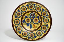 A massive matte glazed floral dish, Charles Catteau for Boch Frères Keramis