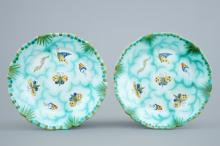 A pair of Brussels faience plates with butterflies and caterpillars, 18/19th C.
