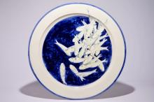 Joost Gevaert: A very large round dish with fish on a blue ground, ca. 2013
