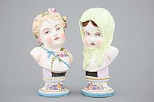 A pair of polychrome allegorical biscuit busts Vion et Baury Paris 19th C.,