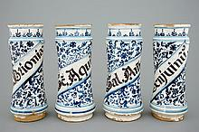 A set of four tall Spanish blue and white albarelli 18th C., H.: 30 cm