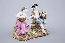 A French faience group Luneville 18th C., Dim.: 14 x 12,5x 8 cm