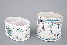 Two bottle or glass coolers in polychrome French faience 18th C., The rou