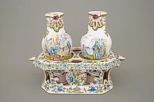 A French faience cruet set in Moustiers style Samson Paris 19th C., H.: 20