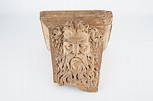 A large French architectural terra cotta fragment depicting Neptune 17/18th