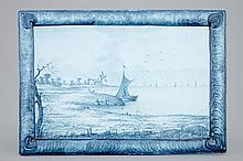 A French faience plaque signed E. Galle Nancy 19th C., Dim.: 36,5x 25 cm