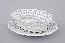 A white monochrome Brussels faience open-worked basket on stand 18th C.,