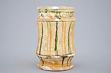 A late Byzantine earthenware sgraffiato albarello Cyprus 13/14th C., H: 1