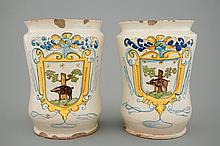 A pair of tall albarelli with boars Italy 18th C., H.: 27 cm Origin: probab