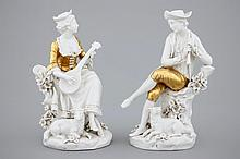 A pair of white and gilt Capodimonte porcelain figures of musicians 19th C.